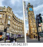 Tolbooth Steeple at Glasgow Cross, Merchant City, Glasgow city center... Стоковое фото, фотограф Jose Peral / age Fotostock / Фотобанк Лори