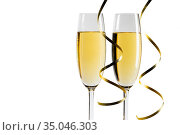 Pair glass of champagne. Стоковое фото, фотограф Иван Михайлов / Фотобанк Лори