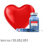 medical syringe and heart on white background. Isolated 3D illustration. Стоковая иллюстрация, иллюстратор Ильин Сергей / Фотобанк Лори