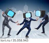 Media zombie concept with man and tv set instead of head. Стоковое фото, фотограф Elnur / Фотобанк Лори