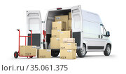 Delivery van with open doors and hand truck with cardboard boxes isolated on white background. Delivery and shipping concept. Стоковое фото, фотограф Maksym Yemelyanov / Фотобанк Лори