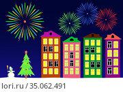 New year night in the town. Vector illustration. Стоковая иллюстрация, иллюстратор Сергей Антипенков / Фотобанк Лори