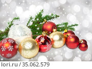 Group of red and gold Christmas balls. Стоковое фото, фотограф Юлия Бабкина / Фотобанк Лори