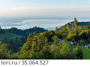 View towards lake Chiemsee and the foothills of the Alps near Rosenheim... Стоковое фото, фотограф Martin Zwick / age Fotostock / Фотобанк Лори