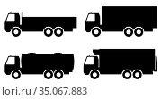 Set of silhouettes the cargo trucks. Vector illustration. Стоковая иллюстрация, иллюстратор Сергей Антипенков / Фотобанк Лори
