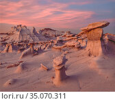 Wilderness with eroded clay mounds with cap rocks at sunset, sky aglow, Bisti Badlands, New Mexico, USA. Стоковое фото, фотограф Jack Dykinga / Nature Picture Library / Фотобанк Лори