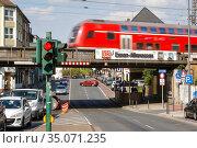 City view at the train station Essen-Altenessen, Essen, Ruhr area, North Rhine-Westphalia, Germany. Редакционное фото, агентство Caro Photoagency / Фотобанк Лори
