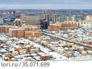 View of snowy city. Nur-Sultan, capital city of Kazakhstan (2009 год). Стоковое фото, фотограф Валерия Попова / Фотобанк Лори