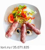 Tasty asparagus rolled with ham and vegetables salad. Стоковое фото, фотограф Яков Филимонов / Фотобанк Лори