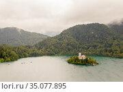Bled Island & Church of the Assumption, Slovenia. Стоковое фото, фотограф Alexandra Buxbaum / age Fotostock / Фотобанк Лори