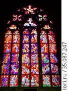 St. Vitus Cathedral, Stained Glass of the Chapel of the Holy Sepulcher. Стоковое фото, фотограф Юлия Бабкина / Фотобанк Лори