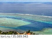 Moorea island french polynesia lagoon aerial view panorama. reef ... Стоковое фото, фотограф Sergi Reboredo / age Fotostock / Фотобанк Лори