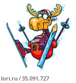 Funny Christmas deer. Deer on skis in a hat and scarf. Стоковая иллюстрация, иллюстратор Александр Павлов / Фотобанк Лори