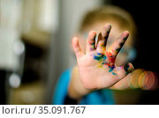 Детское творчество. Проблемы воспитания. Грязные руки. Стоковое фото, фотограф Яковлев Сергей / Фотобанк Лори