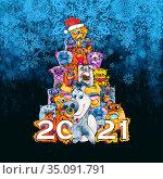 Новогодняя открытка. Акварельные котики и бычок. 2021. Стоковая иллюстрация, иллюстратор Александр Павлов / Фотобанк Лори