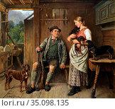 Eberle Adolf - Dirndl Jäger Und Dackelfamilie IM Interieur - German... (2020 год). Редакционное фото, фотограф Artepics / age Fotostock / Фотобанк Лори