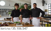 Diverse group of chefs looking at the camera and smiling. Стоковое видео, агентство Wavebreak Media / Фотобанк Лори