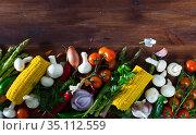 Natural border of vegetarian food. Стоковое фото, фотограф Яков Филимонов / Фотобанк Лори