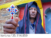 Priest monk at the Abuna Garima monastery Tigray. Abba Garima Monastery... (2020 год). Редакционное фото, фотограф Sergi Reboredo / age Fotostock / Фотобанк Лори