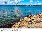 Oslo, Ostlandet / Norway - 2019/09/02: Panoramic view of Oslofjord... Редакционное фото, фотограф bialorucki bernard / age Fotostock / Фотобанк Лори