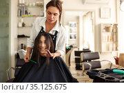 Hairdresser and smiling woman, hairdressing salon. Стоковое фото, фотограф Tryapitsyn Sergiy / Фотобанк Лори