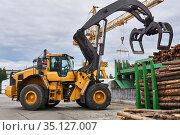 Grapple loader unloads logs onto a feed conveyor in the yard of a woodworking plant. Стоковое фото, фотограф Евгений Харитонов / Фотобанк Лори