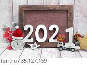 Новый 2021 год. Новогодняя праздничная композиция. Стоковое фото, фотограф Наталья Осипова / Фотобанк Лори