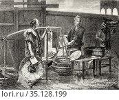 Fried fish merchant, Tokyo, Japan. Old 19th century engraved illustration... Стоковое фото, фотограф Jerónimo Alba / age Fotostock / Фотобанк Лори