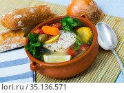 Fisherman's hoosh boiled with alaska pollock, carrots, corn and lemon. Стоковое фото, фотограф Яков Филимонов / Фотобанк Лори
