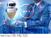 Concept of chat bot in modern business communication. Стоковое фото, фотограф Elnur / Фотобанк Лори