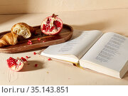 book, croissant, pomegranate and honey on tray. Стоковое фото, фотограф Syda Productions / Фотобанк Лори