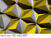 Abstract geometric pattern, parametric yellow gray 3d. Стоковая иллюстрация, иллюстратор EugeneSergeev / Фотобанк Лори