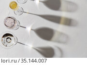 wine glasses dropping shadows on white surface. Стоковое фото, фотограф Syda Productions / Фотобанк Лори