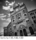 Bullring in Madrid, Las Ventas, situated at Plaza de torros. It is the bigest bullring in Spain in black and white. Стоковое фото, фотограф Matej Kastelic / Фотобанк Лори