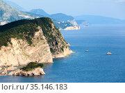 The attractive Island Sveti Nikola popularly named Hawaii near Budva, is one of the top attractions of Budva Riviera. Montenegro (2016 год). Стоковое фото, фотограф Кекяляйнен Андрей / Фотобанк Лори