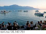 Switzerland, Vaud, Waadt, Lac Léman, Genfer See, Geneva Lake, Montreux... Стоковое фото, фотограф Stephan Engler / age Fotostock / Фотобанк Лори
