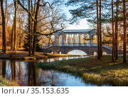Marble bridge in Catherine park (2017 год). Редакционное фото, фотограф Юлия Бабкина / Фотобанк Лори