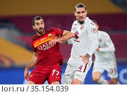 Henrikh Mkhitaryan (Roma) Lyanco (Torino) during the match ,Rome, ... Редакционное фото, фотограф Federico Proietti / Sync / AGF/Federico Proietti / / age Fotostock / Фотобанк Лори