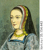 Old color lithography portrait of Anne of Brittany. Anne de Bretagne... Стоковое фото, фотограф Jerónimo Alba / age Fotostock / Фотобанк Лори