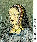 Old color lithography portrait of Anne of Brittany. Anne de Bretagne... Стоковое фото, фотограф Jerónimo Alba / age Fotostock / Фотобанк Лори