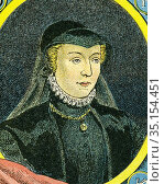 Old color lithography portrait of Catherine de Médicis (1519-1589... Стоковое фото, фотограф Jerónimo Alba / age Fotostock / Фотобанк Лори