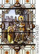 St George's church, Saint-Georges-du-Vièvre, Eure, France. Stained... Стоковое фото, фотограф Julian Kumar / Godong / age Fotostock / Фотобанк Лори