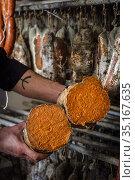 Sobrasada dryer, artisan sausages Cas Sereno, Inca, Mallorca, Balearic... Стоковое фото, фотограф Tolo Balaguer / age Fotostock / Фотобанк Лори