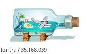 Cartoon Souvenir Bottle. Стоковая иллюстрация, иллюстратор Александр Володин / Фотобанк Лори