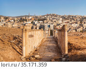 Street South Decumanus in the ancient greco-roman city of Gerasa and the modern city Jerash in the background, Jordan (2016 год). Стоковое фото, фотограф Наталья Волкова / Фотобанк Лори
