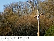 Champignolles village crucifix, Eure, France. Стоковое фото, фотограф Julian Kumar / Godong / age Fotostock / Фотобанк Лори