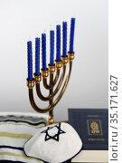 Menorah, tallit, kippah and Torah. Jewish symbols. France. Стоковое фото, фотограф Pascal Deloche / Godong / age Fotostock / Фотобанк Лори