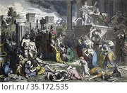 The Romans ransack a conquered city. After a 19th century work by... (2020 год). Редакционное фото, фотограф Classic Vision / age Fotostock / Фотобанк Лори
