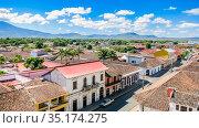 View of the colonial city of Granada in Nicaragua, Central America, from the rooftop of the La Merced Church (Iglesia de La Merced) Редакционное фото, фотограф Николай Коржов / Фотобанк Лори