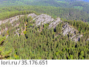 panorama of endless taiga in the Ural mountains in an autumn sunny day. Стоковое фото, фотограф Акиньшин Владимир / Фотобанк Лори